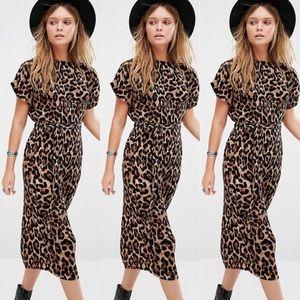 New Look leopard pleated midi dress